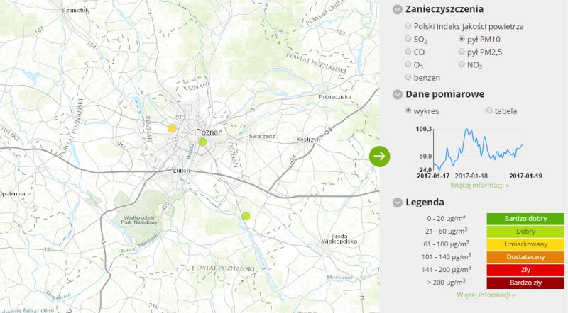 Jakość powietrza w Poznaniu (godz. 14)