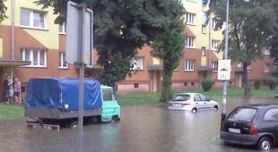 Zalane osiedle Retkinia w Łodzi