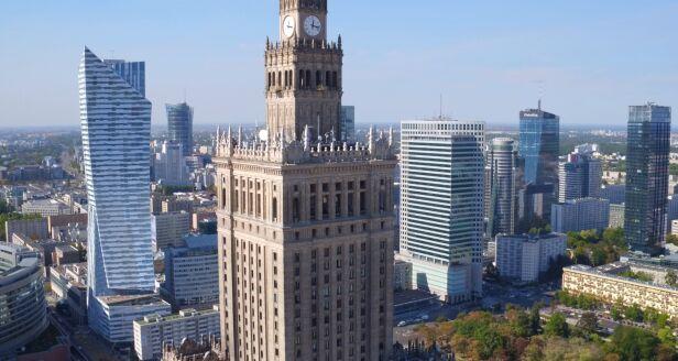 Pałac Kultury z drona archiwum TVN