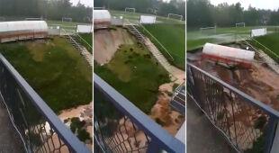 W Wodzisławiu Śląskim osunęło się boisko