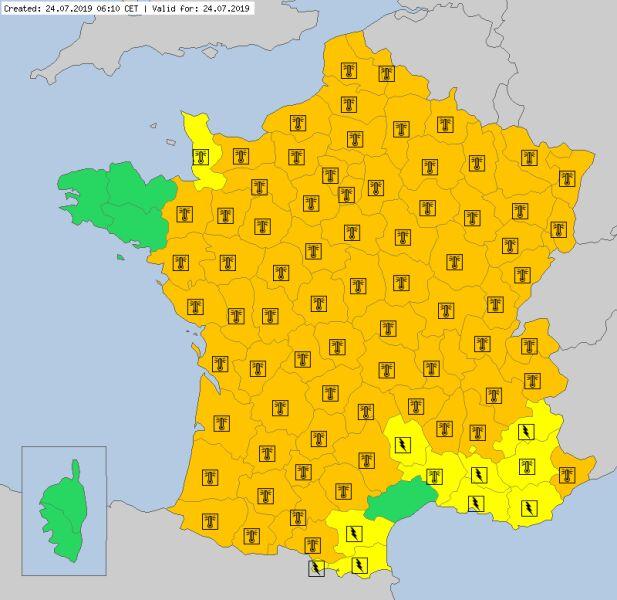 Ostrzeżenia meteorologiczne dla Francji (meteoalarm.eu)