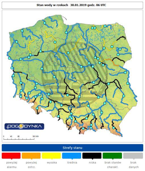 Stan wody w rzekach w środę o godz. 6 (IMGW)
