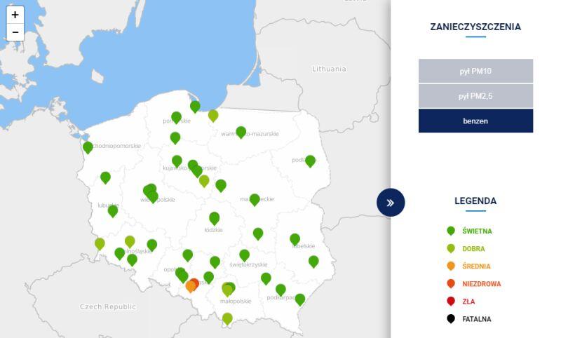 Stężenie benzenu w Polsce po godz. 20