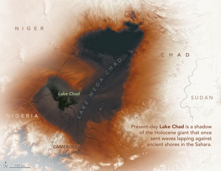 Powierzchnia jeziora Czad dziś i sprzed siedmiu tysięcy lat (NASA Earth Observatory/Joshua Stevens)